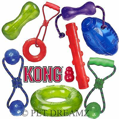 Kong Squeezz Squeaky Dog Puppy Fetch Chew Rope Toy – Many Shapes Sizes