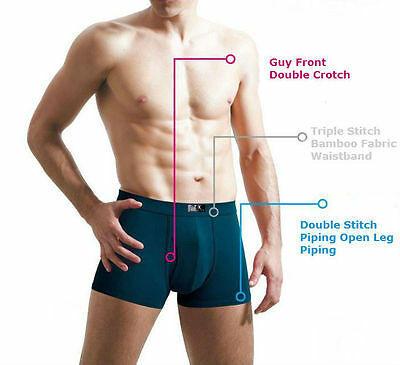 1 x Mens Natural Bamboo Fibre Wide Band Guy Front Boxers 3 colours