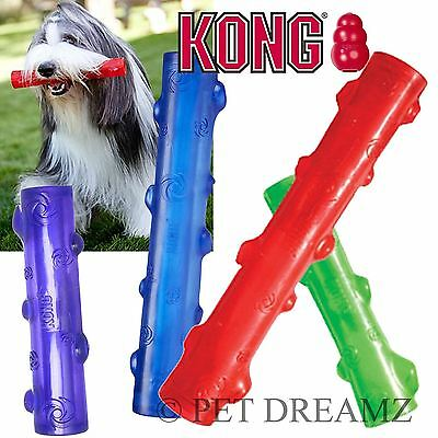 Kong Squeezz Squeaky Dog Puppy Fetch Toss Durable Chew Stick – 2 Sizes