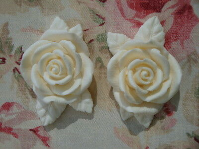 Shabby & Chic LARGE ROSES w/ LEAVES Furniture Appliques 2pcs Architectural Onlay