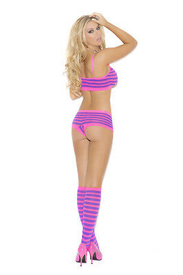 STRIPED BOOTY SHORTS CAMI TOP & KNEE HIGH STOCKINGS New