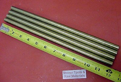 "4 Pieces 1/2"" C360 BRASS ROUND ROD 12"" long Solid New Lathe Bar Stock H02 .500"""