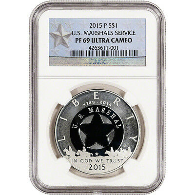 2015-P US Marshals Service Commemorative Proof Silver Dollar NGC PF69 Star Label