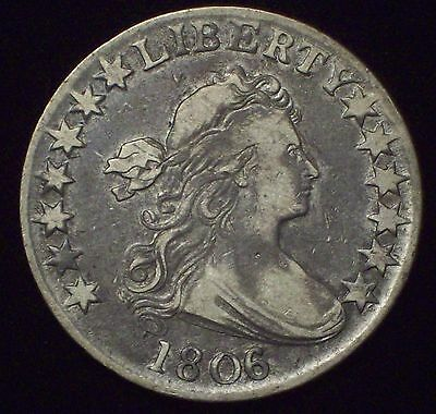 1806 over 5 HALF DOLLAR SILVER O-115 Variety OVERDATE VF+ XF Detailing Coin 50C
