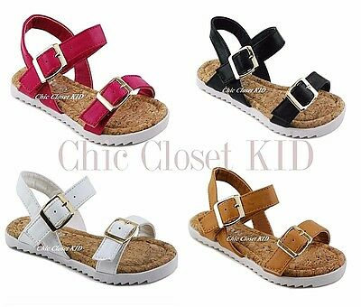 Girls JR Youth Sparkling Sandals Ankle Strap Low Flat Heel Summer Metallic Shoes