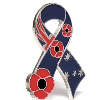 Australian Ribbon Poppy Lapel Pin* Remembrance Day * Anzac Day