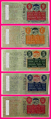 Ohio Prepaid Sales Tax Receipt 5-Stamp Lot.  9, 12, 15, 30 & 60¢  Prior To 1962