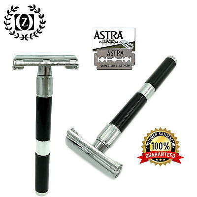 Deluxe Long Handle Butterfly Opening Double Edge Safety Razor + 5 Shaving Blades