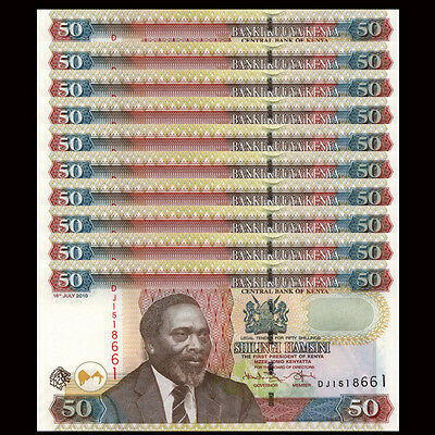 Lot 10 PCS, Kenya 50 Shillings, 2010, P-47e, UNC