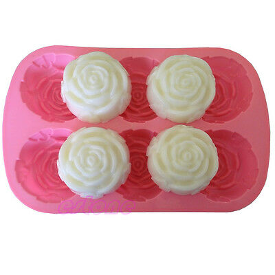 Hot Silicone Silicon Rose Soap Molds Cake Chocolate Candy Jelly Mould 6 Cavities