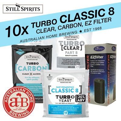 10x Still Spirits Turbo Classic 8 Yeast  Turbo Clear & Turbo Carbon & EZ Carbon