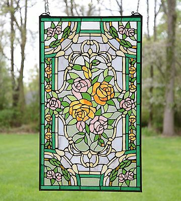 "20"" x 34""Rose Flower Handcrafted stained glass window panel"