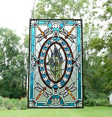 """Handcrafted stained glass window panel Dragonfly Iris Flowers, 20.5"""" x 34.75"""""""