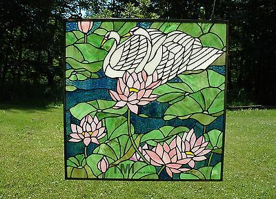 "24"" x 24"" Tiffany Style stained glass window panel water lily / Lotus swan"