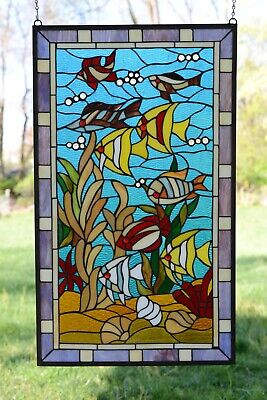 "sold out!20"" x 34"" Fish under the Sea Tiffany Style stained glass window panel"