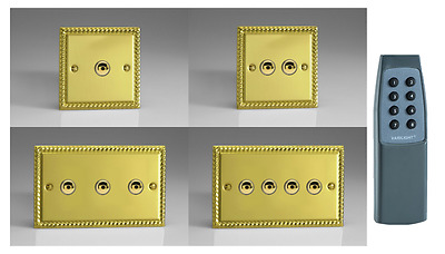 Georgian Brass Plated V-Pro LED IR Touch/Remote Dimmers - Gang & Wattage Option