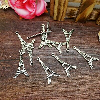 Hot Charm 8pcs Eiffel Tower Tibet Silver Pendant Fit for Bracelet Necklace PJA24