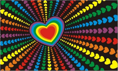 Rainbow Heart Flag 5' x 3'