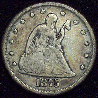 1875 CC 20 Twenty Cent Piece *RARE SILVER F+/VF Detailing AUTHENTIC Carson City!