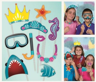 Under the Sea | Ocean Photo Props | Photo Booth | Party | Shark | 10 Props 1-5pk