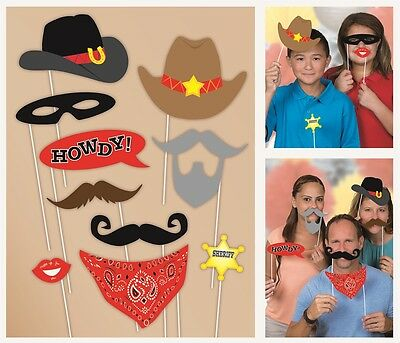 Western | Cowboy Photo Props | Photo Booth | Party | Sheriff | 10 Props 1-5pk