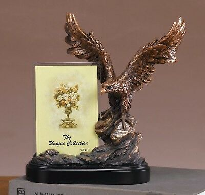 Bald Eagle Perching on Cliff Bronze Electroplated Figurine Picture Frame Decor