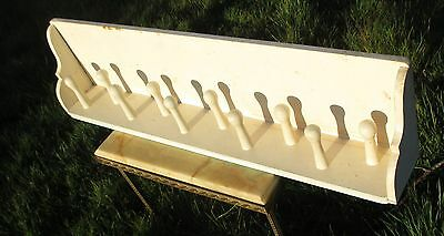 Vintage Barn Rustic Peg Coat Rack Authentic 10 Hooks Charming White Paint