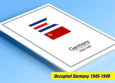 COLOR PRINTED OCCUPIED GERMANY 1945-1949 STAMP ALBUM PAGES (50 illustr. pages)