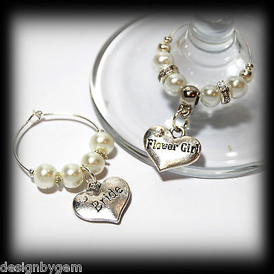 Personalised Wedding Table Decorations Champagne Wine Glass Charms