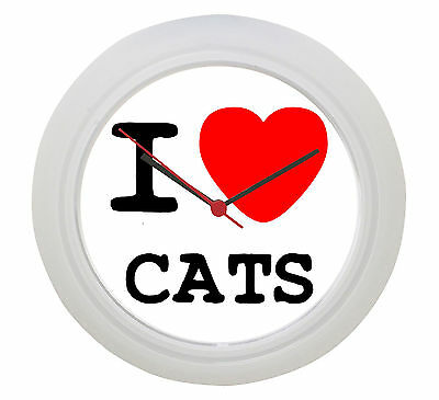 I LOVE CATS Wall Clock! Or add any other name, team, town or hobby you love!