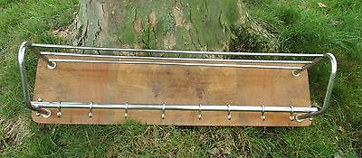 Vintage Wood Chrome Wall Coat Rack Shelf Mid Century Modern Railroad Industrial