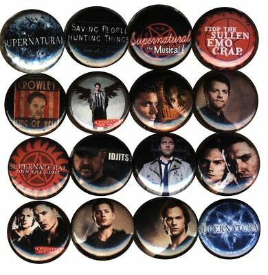 Castiel from Supernatural TV Series Set of 3 One Inch Buttons-Pins-Badges