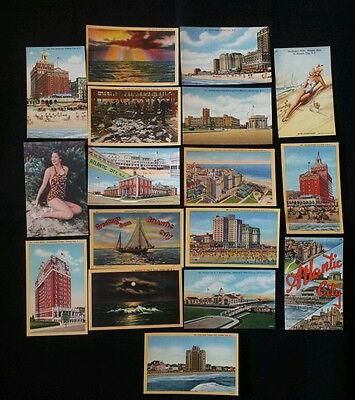 17 linen post cards from Atlantic City, NJ unused 1940's very nice lot
