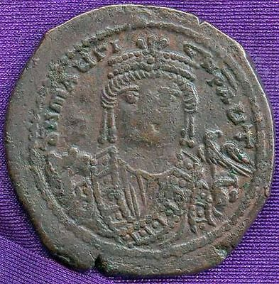 MAURICE TIBERIUS (582-602AD) 30mm AE Follis of Antioch 3rd officina HIGH QUALITY