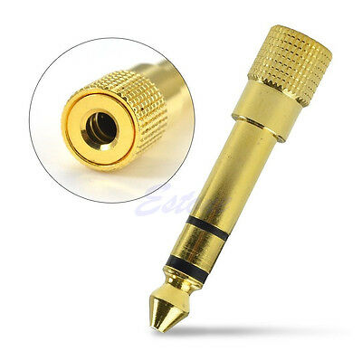 "6.3mm 1/4"" Gold Male to 3.5mm 1/8"" Female Stereo Plug Audio Adapter Converter N"