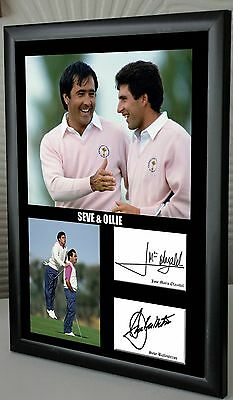 """Seve & Ollie Ryder Cup Golf Framed Canvas Tribute Print Signed """"Great Gift"""""""