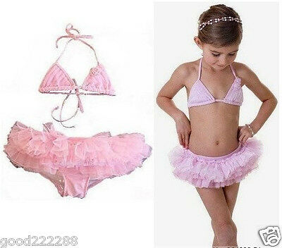 NWT Authentic Girls Ballerina Tutu Skirted Two Piece Bikini Swimsuits 2T-6X #GK