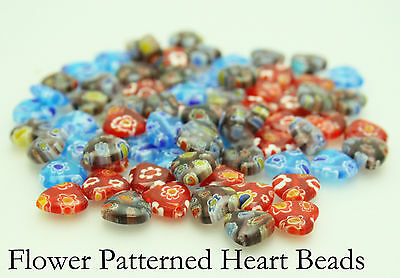 40 Flower Patterned Millifiori Glass Hearts For Jewellery Making Size (10) mm