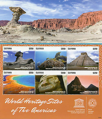 Guyana 2015 MNH UNESCO World Heritage Sites Americas 6v M/S Chichen Itza Pitons