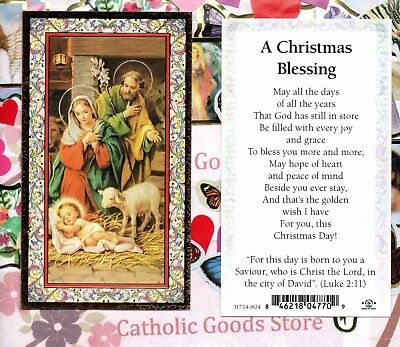 Holy Family/front- A Christmas Blessing/back  - gold trim - Paperstock Holy Card