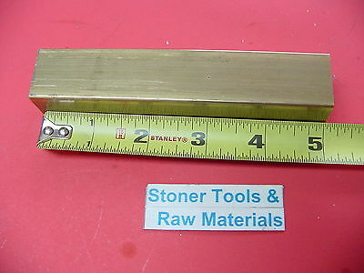 """1"""" x 1"""" C360 BRASS SQUARE BAR 5"""" long Solid 1.00"""" Flat Mill Stock H02"""