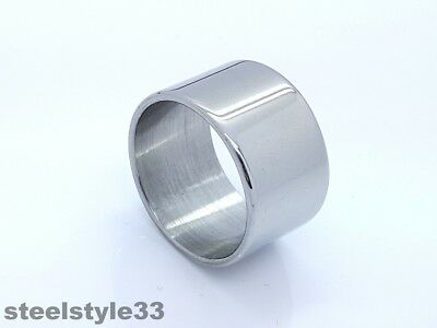 Stainless Steel Wide Silver Tone Ring Men's Ladies