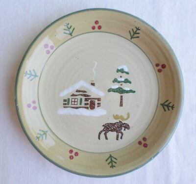 """Lodge Sonoma Moose Cabin Pine Tree Snow 8"""" Salad Plate Replacement Rustic Woods"""