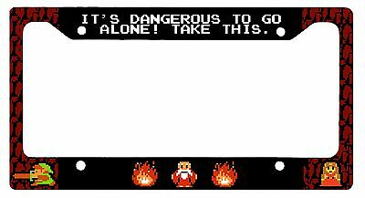 L@@K! 8 bit Zelda - Its Dangerous to Go Alone License Plate Frame - Link Hyrule