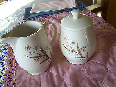 Windswept Covered Sugar Bowl & Cream Pitcher Syracuse China, Carefree Line