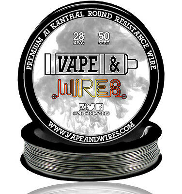 Vape and Wires Round Kanthal Resistance Wire 28 Gauge AWG A1 50ft Roll 0.32mm