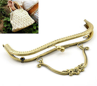 1PC New Bronze Tone Purse Bag Metal Arch Frame Kiss Clasp Lock Handle