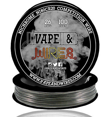Vape and Wires Nichrome 80 Ni80Cr20 Competition Wire 26 Gauge AWG 100ft Roll