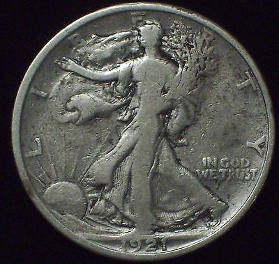 1921 *SILVER* Walking Liberty HALF DOLLAR *KEY Date* SCARCE F Authentic US Coin