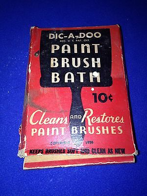 Vintage Dic-A-Doo Paint Brush Bath Cleaner Box w/ Powder, Painting 1936